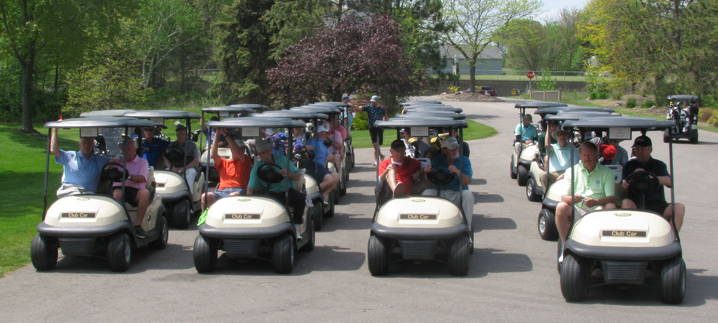Russ Hiser Memorial 2021 Tournament Golfers in Golf Carts